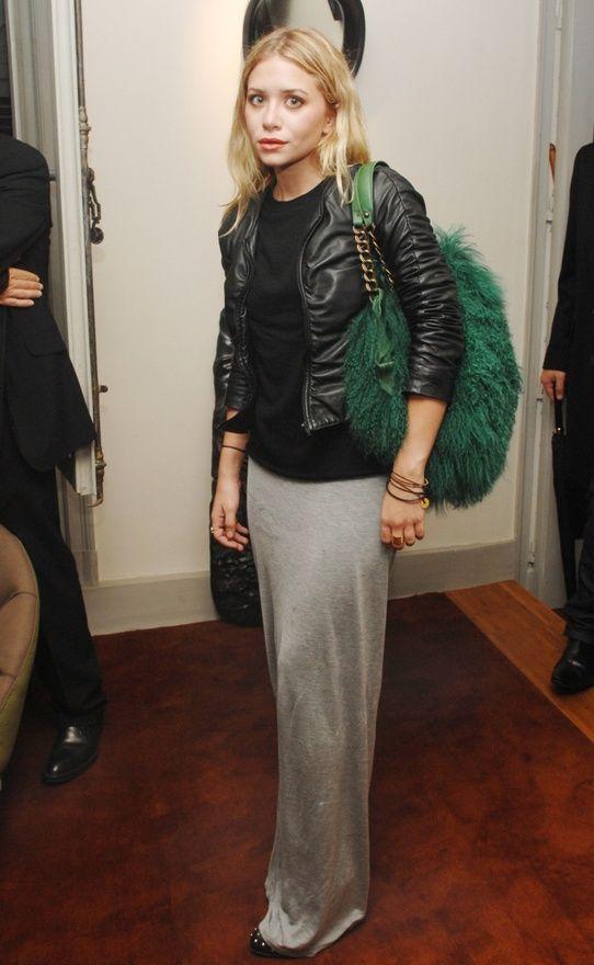 leather biker jacket + grey maxi skirt (Ashley Olsen)