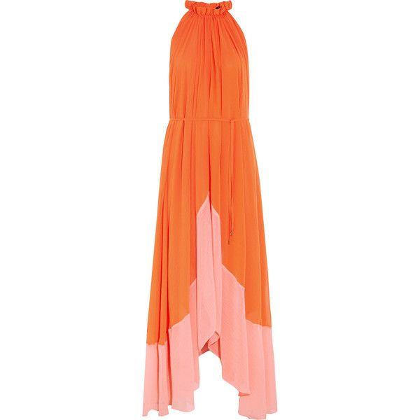 Saloni Iris crinkled-georgette halterneck maxi dress ($360) ❤ liked on Polyvore featuring dresses, maxi dress, orange, orange maxi dress, loose dresses, loose maxi dress, halter tops and indian dress