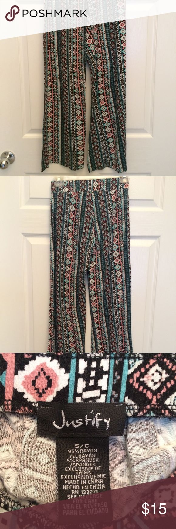 Multi-color Aztec Print Flowy Pants Incredibly soft and comfy. Elastic waistband. Fun pattern! 95% rayon, 5% spandex Justify Pants