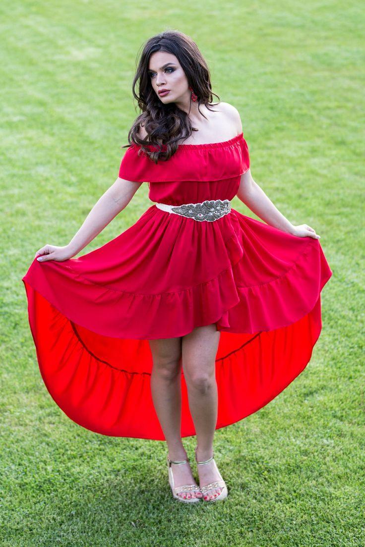 Rochie cu volan pe umeri | Madelia Fashion - Magazin online haine și rochii de damă