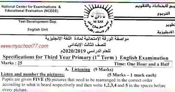 متابعي موقع مدرستي التعليمي ننشر لكم مواصفات امتحان اللغة الانجليزية للمرحلة الابتدائية 2020 مواصفات الورقة الامتحانية لمادة اللغة Math Primary Math Equations