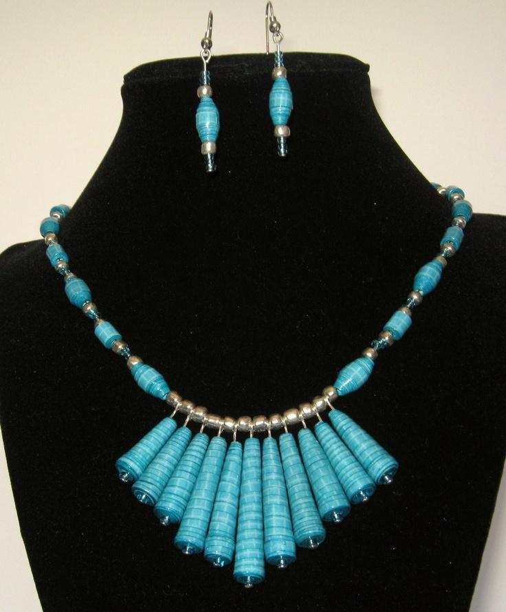 Turquoise Cone Handmade Paper Bead Jewelry Set