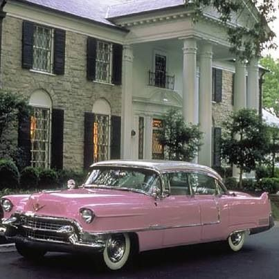 Elvis' pink cadillac in front of Graceland