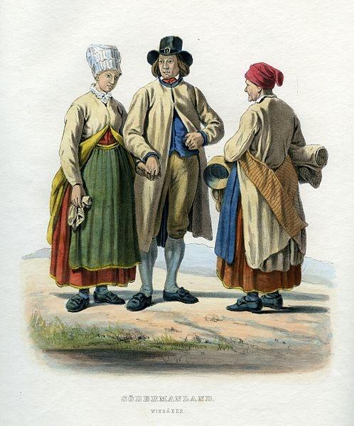 Folkdräkter från Vingåker, Södermanland, Sverige. Plansch ur Svenska folkets seder, bruk och klädedrägter (1863) tecknad av Carl Anders Dahlström.