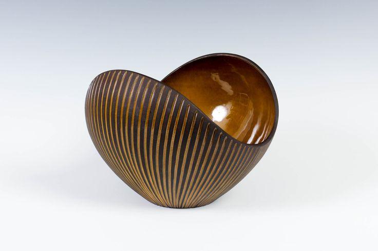 "8"" (20cm) Upsala-Ekeby Bowl by Hjördis Oldfors - 1950s Sweden - Kokos Coconut Series - Scandinavian Pottery by ThePapers on Etsy"