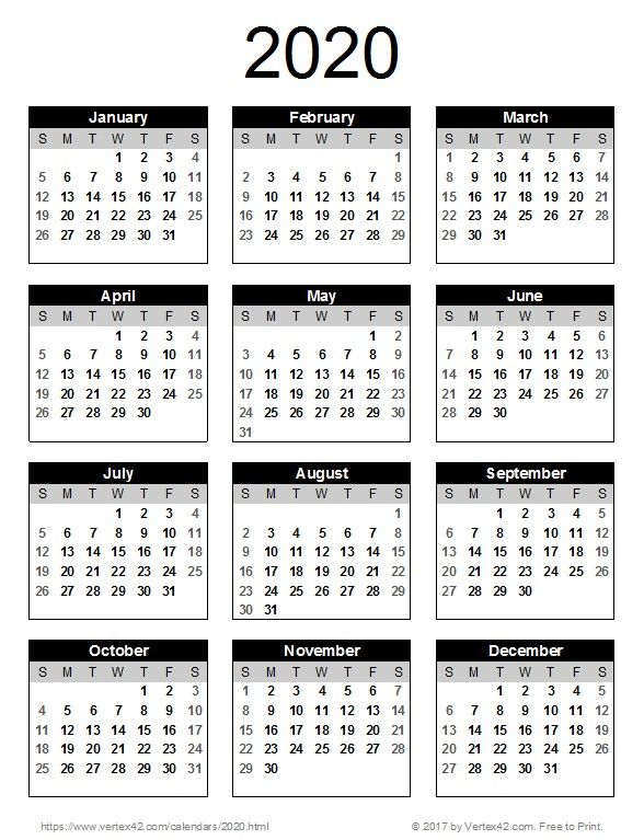 2020 Annual Calendar Printable Printable Yearly Calendar Annual