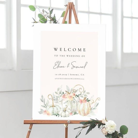 Floral Pumpkin Sign Template, Printable Wedding
