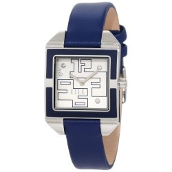 if you don't like it in black, we have it in blue! This very contemporary ELLE watch for women in blue is a fun watch to own. It has a rectangular white dial, contrasting blue enamel bezel, strategically placed Swarovski Crystals for visual impact and a blue leather strap. This is a pretty watch that will command attention and get you nice compliments.