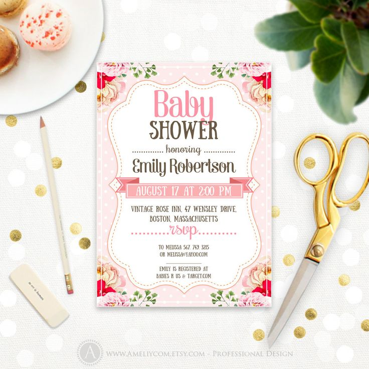 Pink Baby Girl Shower Invitation Printable Polka Dots & Flowers Shabby Chic Baby Shower Country Baby Shower DIY Digital Instant DOWNLOAD PDF