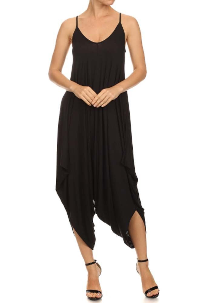 Spaghetti Strap Solid Stretch Long Harem Pants Jumpsuit Romper Small / Black - TheLovely.com - 2