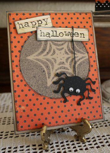 Spider and Web Halloween Card by sghartman: Cricut Cards, Cards Ideas, Cards Halloween Spid, Cards Tags Invitations, Cards Halloween Spooky, Cards Halloween Fal, Cards Holidays, Greeting Card, Create Cards