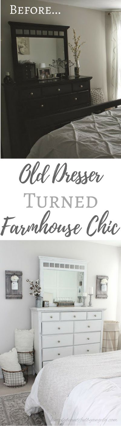 Simply Beautiful By Angela: Old Dresser Turned Farmhouse Chic.  Cheap Dresser Makeover Using DIY Chalk Paint