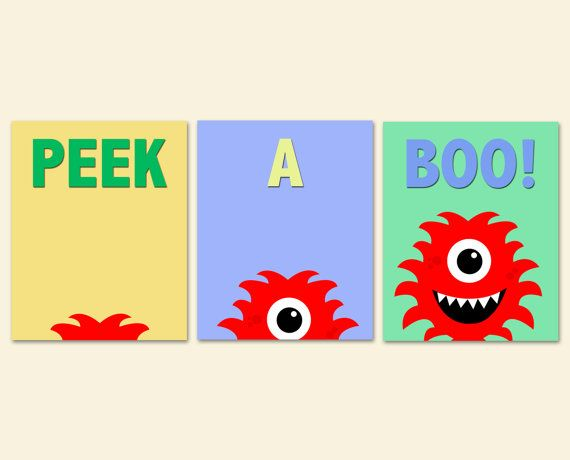 Monster Nursery Art, Kids Bedroom Decor, Monster Art Prints, Kids Art, Nursery Decor, Set of Three 8x10 Prints Peek A Boo on Etsy, $39.85