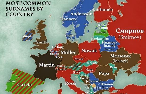 El mapa que muestra cuáles son los apellidos más comunes en cada país y cuál es su significado