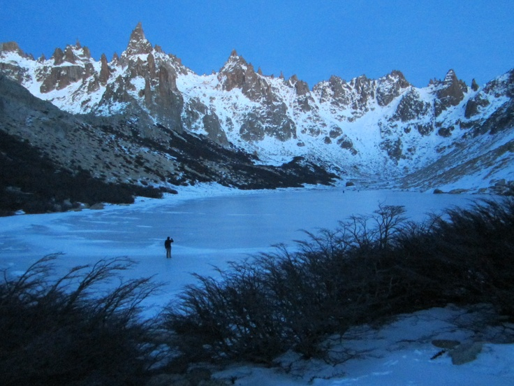 A lone early-morning iceskater on Lake Toncek, Bariloche