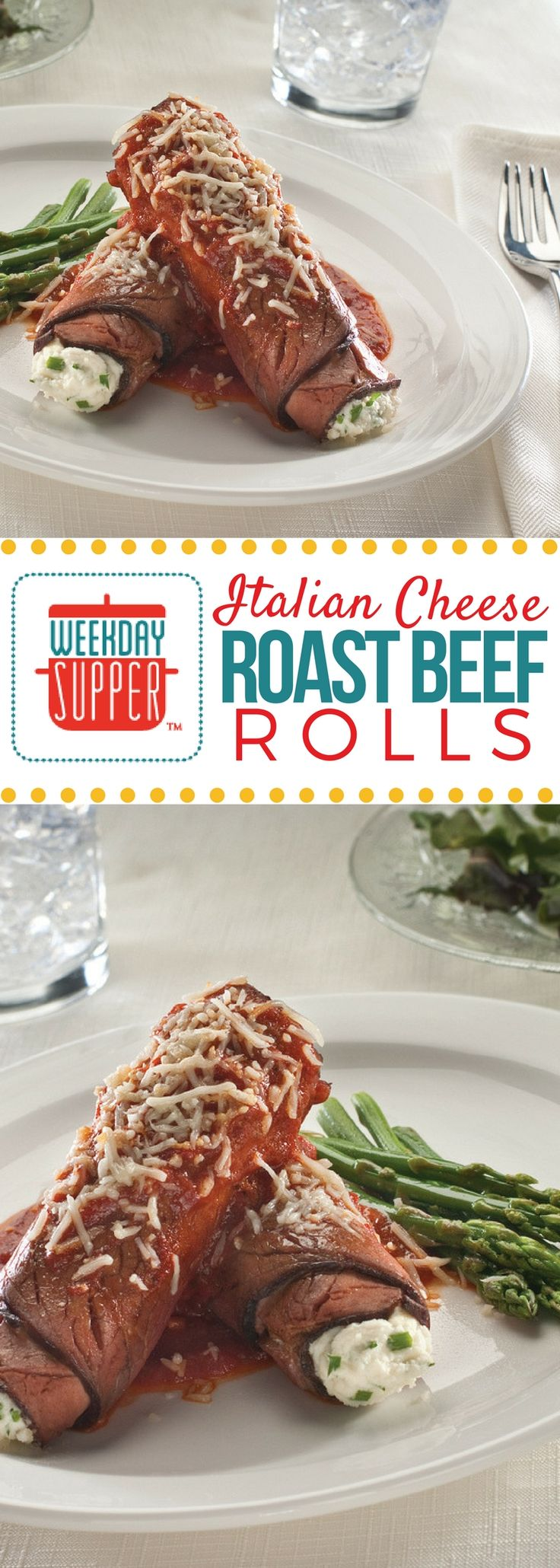 Creamy mozzarella and ricotta mixed with salty Parmesan make a delightful filling for these Cheese Roast Beef Rolls. Pizza sauce adds a sharp, sweet note to this Sunday Supper recipe.