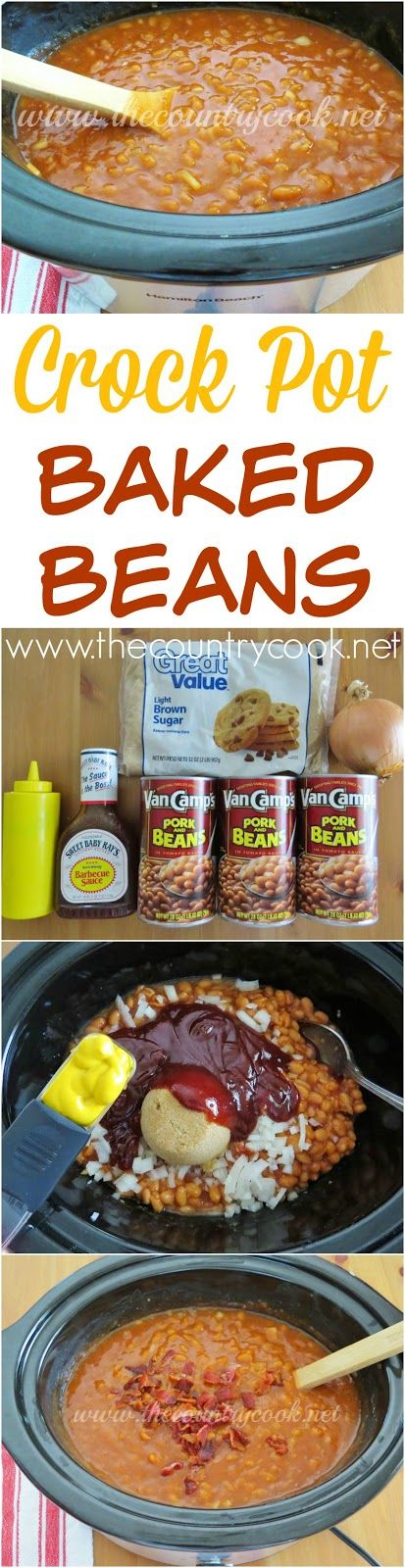 Crock Pot Baked Beans recipe from The Country Cook. Love that his cooks itself and I can keep it warm for everyone while they serve themselves. The flavor gets better the longer it cooks! #LaborDay #MemorialDay #BBQ #sides #recipes