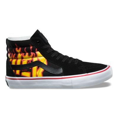 The Thrasher Sk8-Hi Pro, part of the Vans x Thrasher collaboration, is a Vans classic upgraded for enhanced performance. Featuring flame-printed canvas and suede uppers, the Sk8-Hi Pro utilizes single-wrap foxing tape, UltraCush HD sockliners to keep the foot close to the board while providing the highest level of impact cushioning, and Vans original waffle outsoles made of a rubber that offers grip and support. The Sk8-Hi Pro also includes DURACAP reinforcement rubber underlays in high wear…