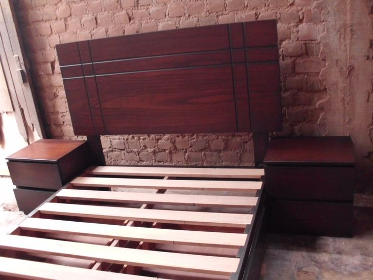 Cama De 2 Plazas Con Cajones Laterales En Madera Tornillo - S/. 950,00