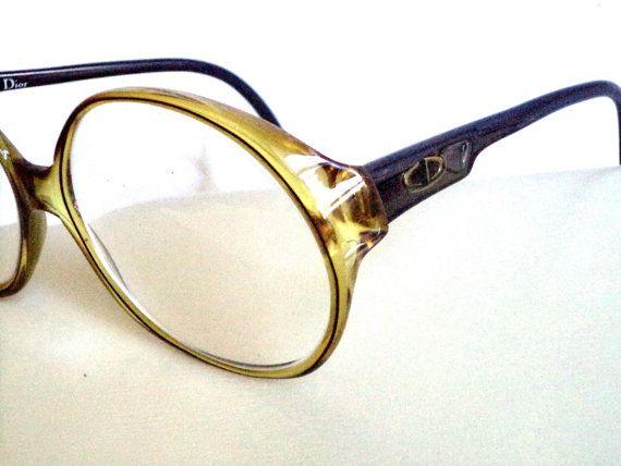 Dior 70s Amber Gold Round Eyeglasses Mod Bugeye by MushkaVintage3