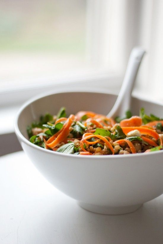 Arugula, carrot and chickpea salad with wheat berries by Cookie and Kate