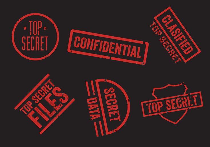 Top Secret Stamp Vector Set