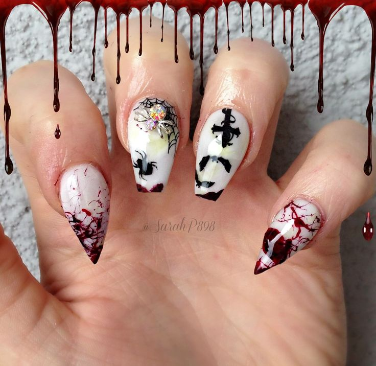 Halloween stiletto and coffin nails, nail designs by sarah