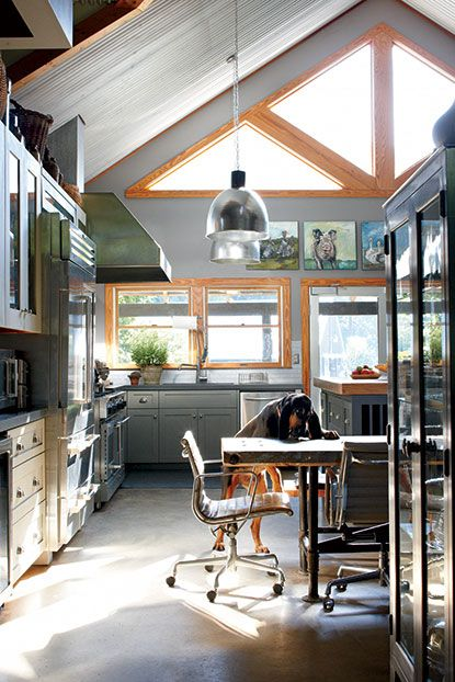 The chef's black-and-tan coonhound Rupert scrounges for scraps. (Photo Credit: Dana Gallagher) #southernhomes #kitchen