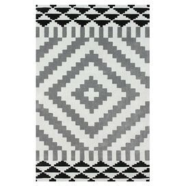 Hand-tufted rug with a Southwestern-inspired motif.     Product: RugConstruction Material: 100% PolyesterColor: Light greyFeatures: Hand-tufted Note: Please be aware that actual colors may vary from those shown on your screen. Accent rugs may also not show the entire pattern that the corresponding area rugs have.Cleaning and Care: These rugs can be spot treated with a mild detergent and water.  Professional cleaning is recommended if necessary.