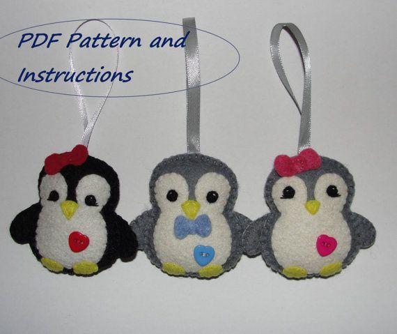 Felt Penguin Ornament Pattern Pdf Pattern by NitaFeltThings