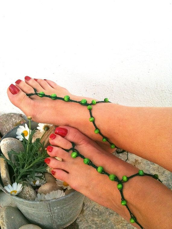 Dark green  beads  macrame Foot jewelry Anklet by ArtofAccessory, $15.00: Nude Shoes, Jewelry Anklet, Foot Jewelry Wedding, Beach Weddings