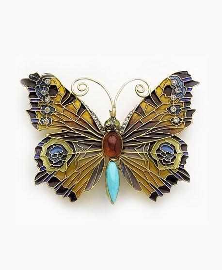 Art Nouveau Magnificent plique-à-jour enamel, rose-cut diamond, turquoise, garnet, peridot and gold butterfly brooch/pendant.