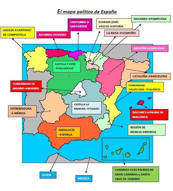 Mapa autonomías y capitales