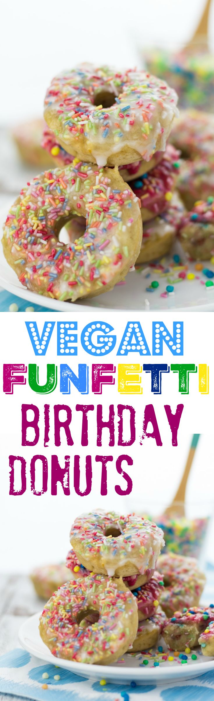 Celebrate your next birthday with these vegan baked birthday donuts with rainbow sprinkles, vanilla and cherry frosting!