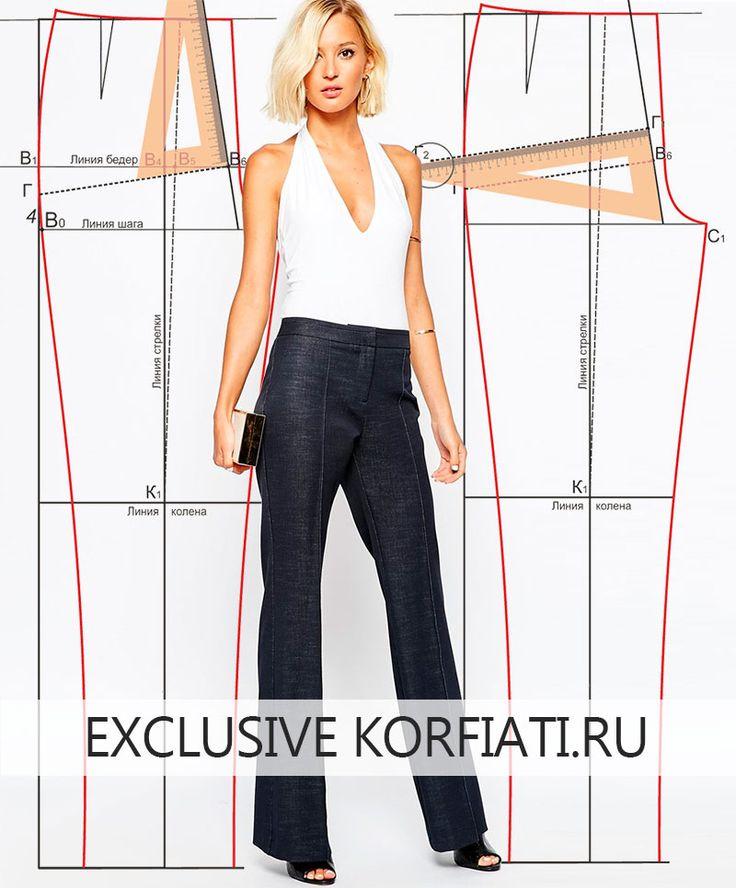 Простое пошаговое построение выкройки женских брюк с подробными инструкциями. Идеальная брюк посадка по фигуре. По базовой выкройке вы сможете моделировать