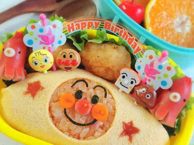 アンパンマンオムライスのお誕生日キャラ弁の画像