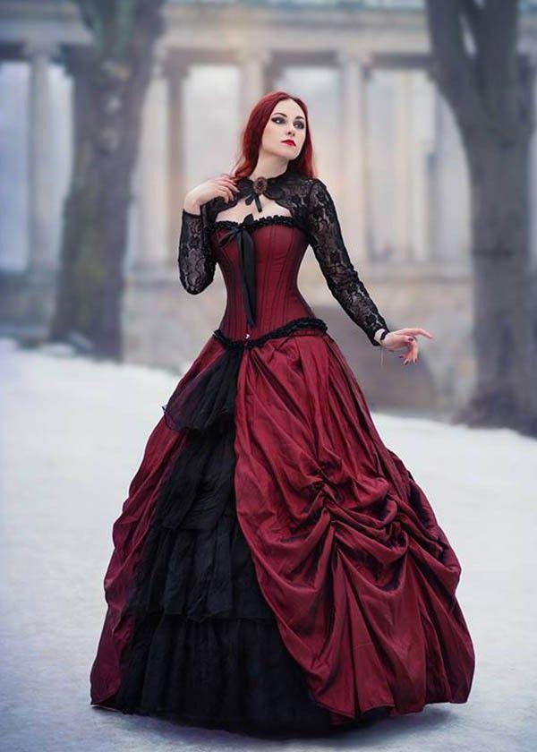 c9a95dea8c7 Red Black Gothic Long Prom Dress D1008 - D-RoseBlooming
