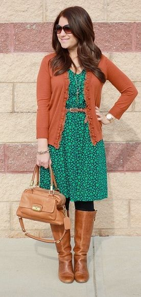 Outfit Posts: outfit post: navy heart dress, rust cardigan, brown riding boots Love hair too!