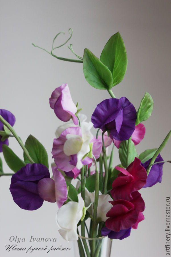 Купить Букет душистого горошка. - фиолетовый, душистый горошек, букет, керамическая флористика, Холодный фарфор