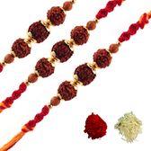 three rudraksh Rakhi bracelet with Tilak (Roli Chaval Set) order online at www.rakhi.com.au