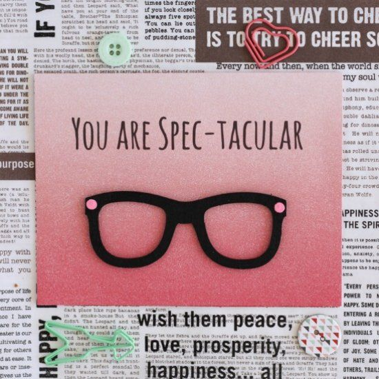 Learn how to make this YOU ARE SPEC-TACULAR card.  A handmade cheesy pun card perfect for Valentine's Day.