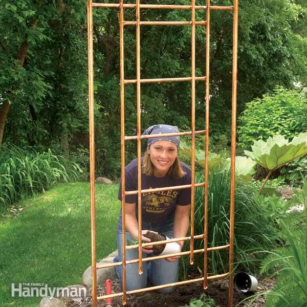 DIY Copper Garden Projects • Lots of Ideas & Tutorials! Including this diy copper trellis from 'family handyman'.
