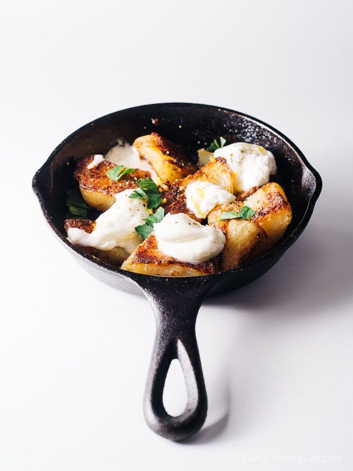 roast potatoes and burrata