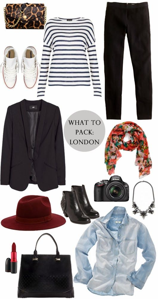 what to pack for london comfortable shoes for walking / a classic t-shirt / black pants that go with everything / colorful scarf that doubles as a blanket for chilly flights / a camera of any kind to document your adventures / statement necklace to instantly dress up your day outfit for night / chambray shirt that is appropriate for day, night & everything in between / black booties / a hat to mask that dirty travel hair (hint: to pack, stuff with socks)