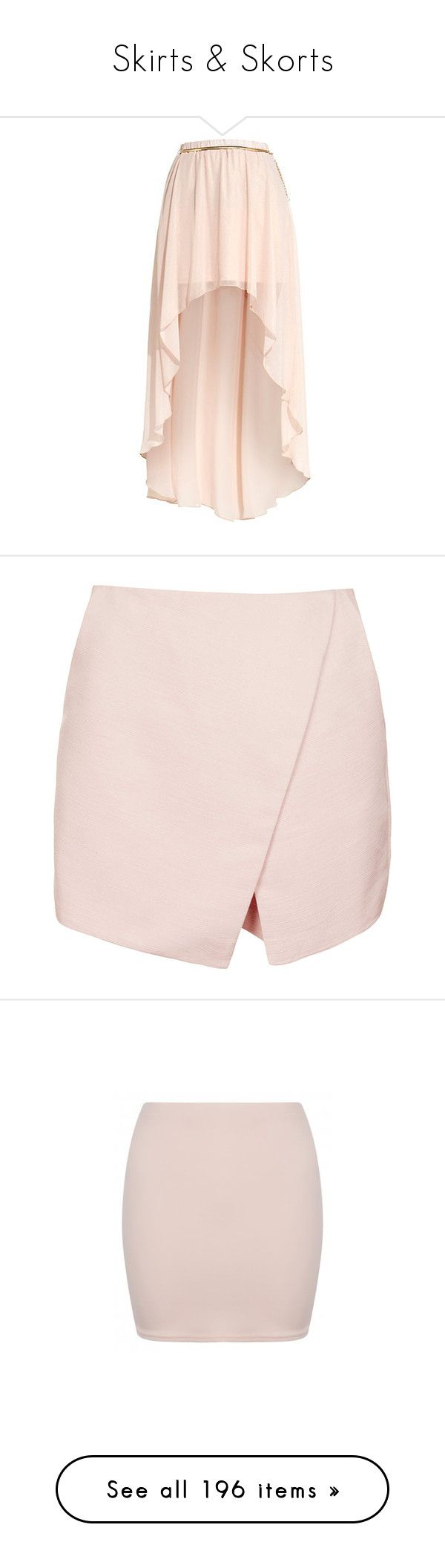 """""""Skirts & Skorts"""" by angeloutofdarkness ❤ liked on Polyvore featuring skirts, mini skirts, bottoms, saias, faldas, pink hi low skirt, hi low skirt, hi lo skirt, short in front long in back skirt and pink mini skirt"""