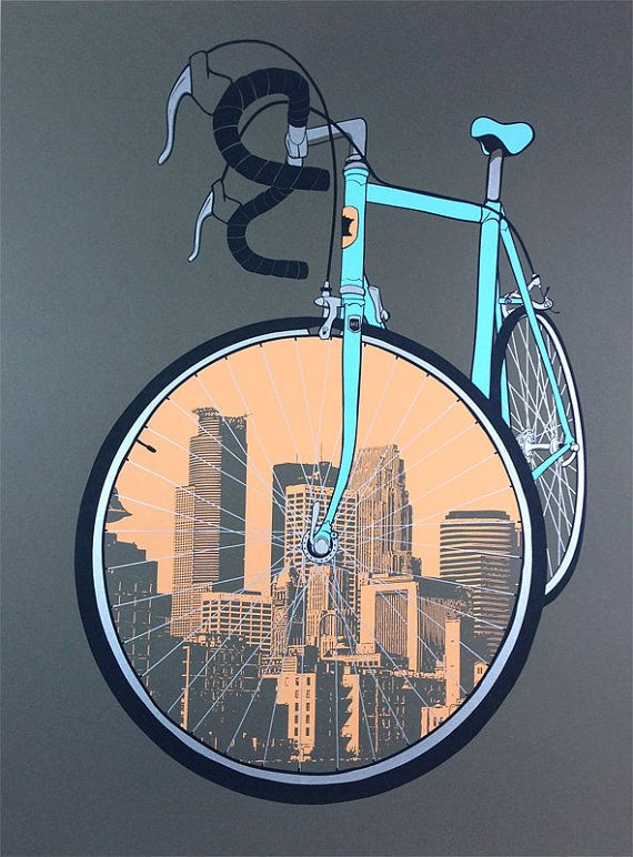 City Bike Minneapolis Cycling Poster by dogfishmedia on Etsy, $30.00
