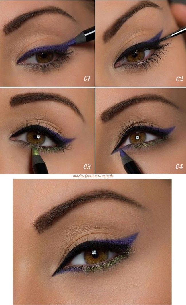Achei linda essa maquiagem! Super simples de fazer e linda! Você precisa apenas de dois lápis de olhos – roxo e verde dourado – delineador preto e rímel. Se não tiver os lápis, mas tem…