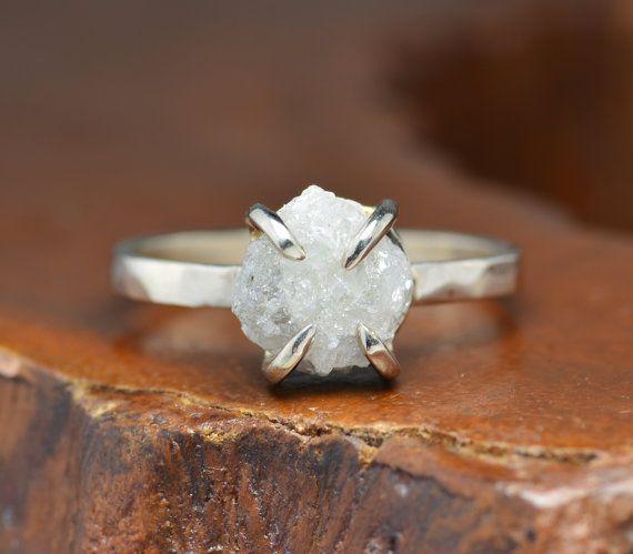 2.25 Carat Uncut Diamond 14k White Gold by PointNoPointStudio