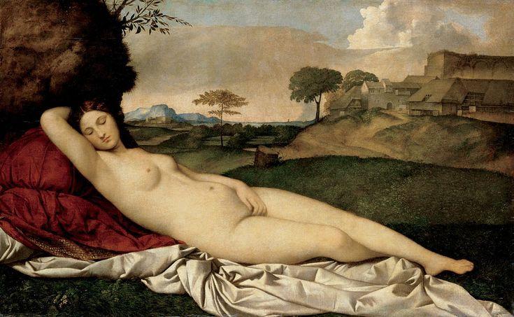 Giorgione, Venere dormiente, nota anche come Venere di Dresda, olio su tela (108,5x175 cm), 1507-1510 circa, Gemäldegalerie di Dresda.