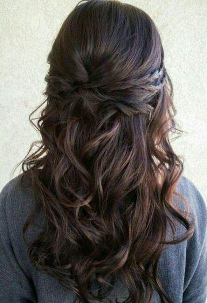 Trendy Bridal Hairstyles for Long Hair Wavy Half-Up Ideas - #Brides #Hairstyles ... - Hairstyle Wavy Braid - #Braid #BROWN #Bride Hairstyles